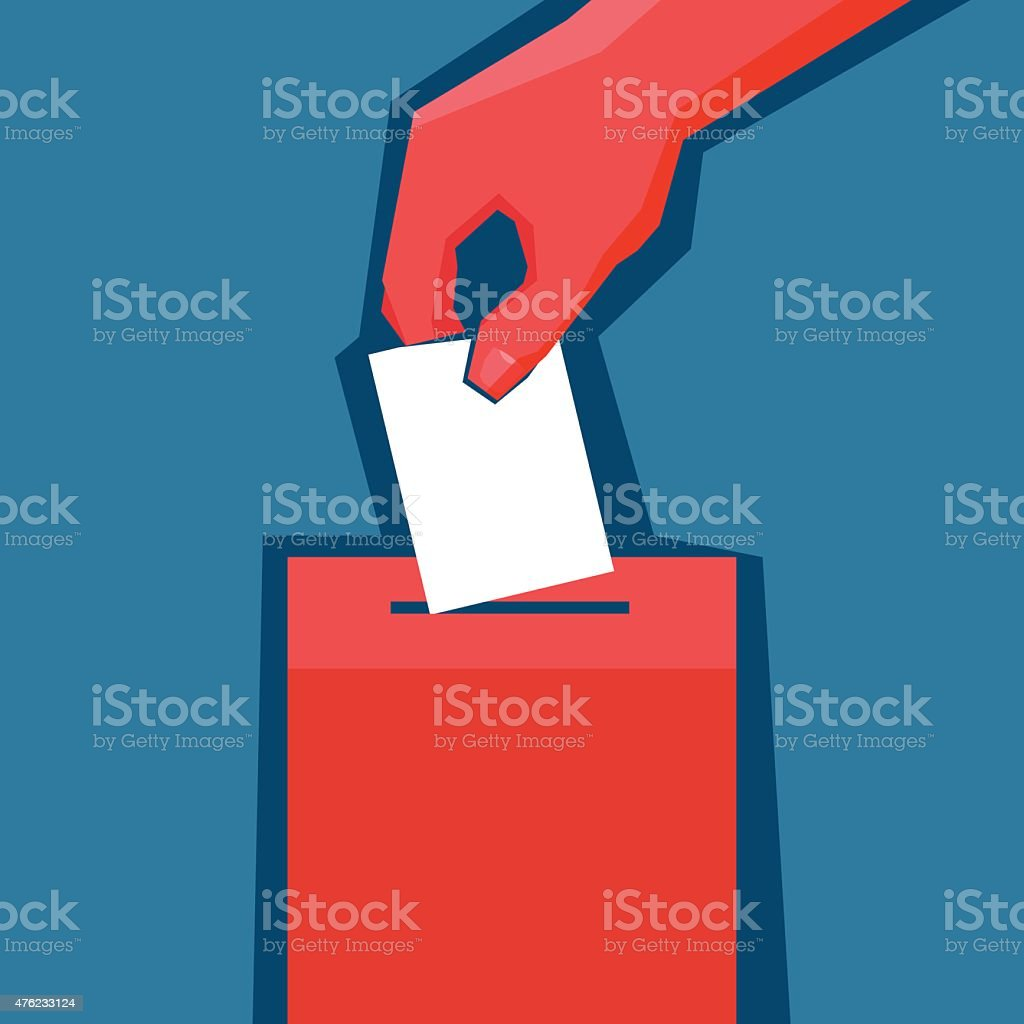 Hand puts ballot in the ballot box vector art illustration