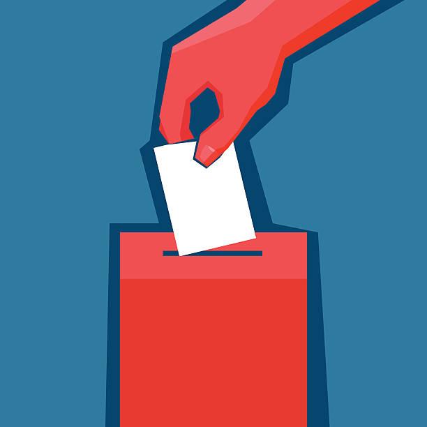 stockillustraties, clipart, cartoons en iconen met hand puts ballot in the ballot box - vote