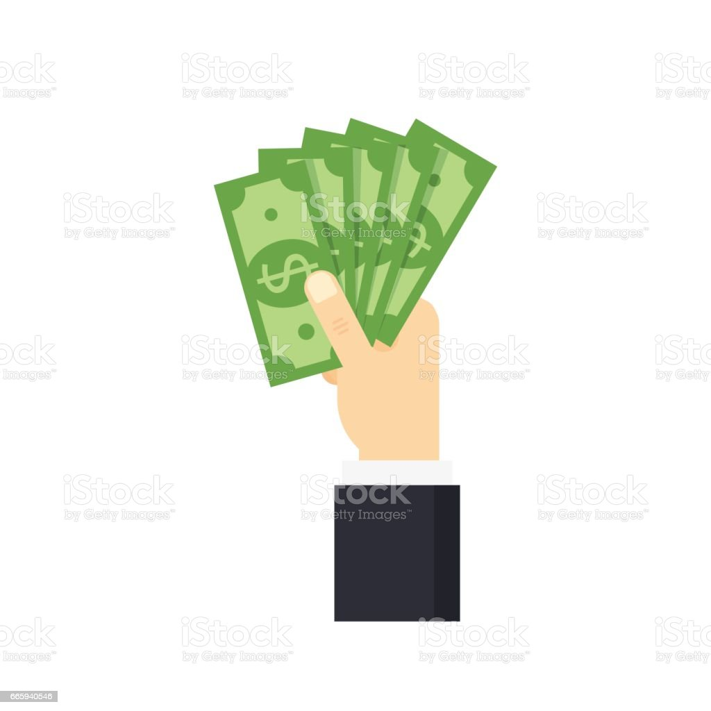 Hand puts cash - vector illustration. hand puts cash vector illustration - immagini vettoriali stock e altre immagini di adulto royalty-free