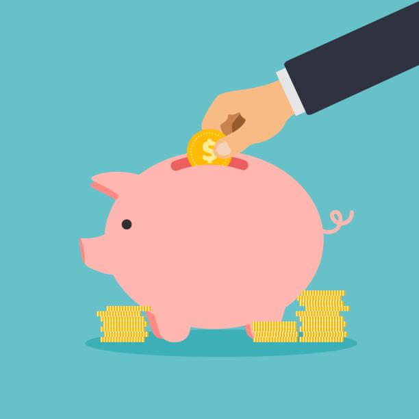 Hand puts coins in a piggy bank. Hand puts coins in a piggy bank. Flat design vector illustration piggy bank stock illustrations