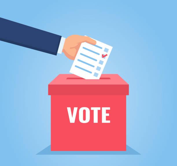 Hand puts vote bulletin into vote box. Election concept Flat design vector illustration voting stock illustrations