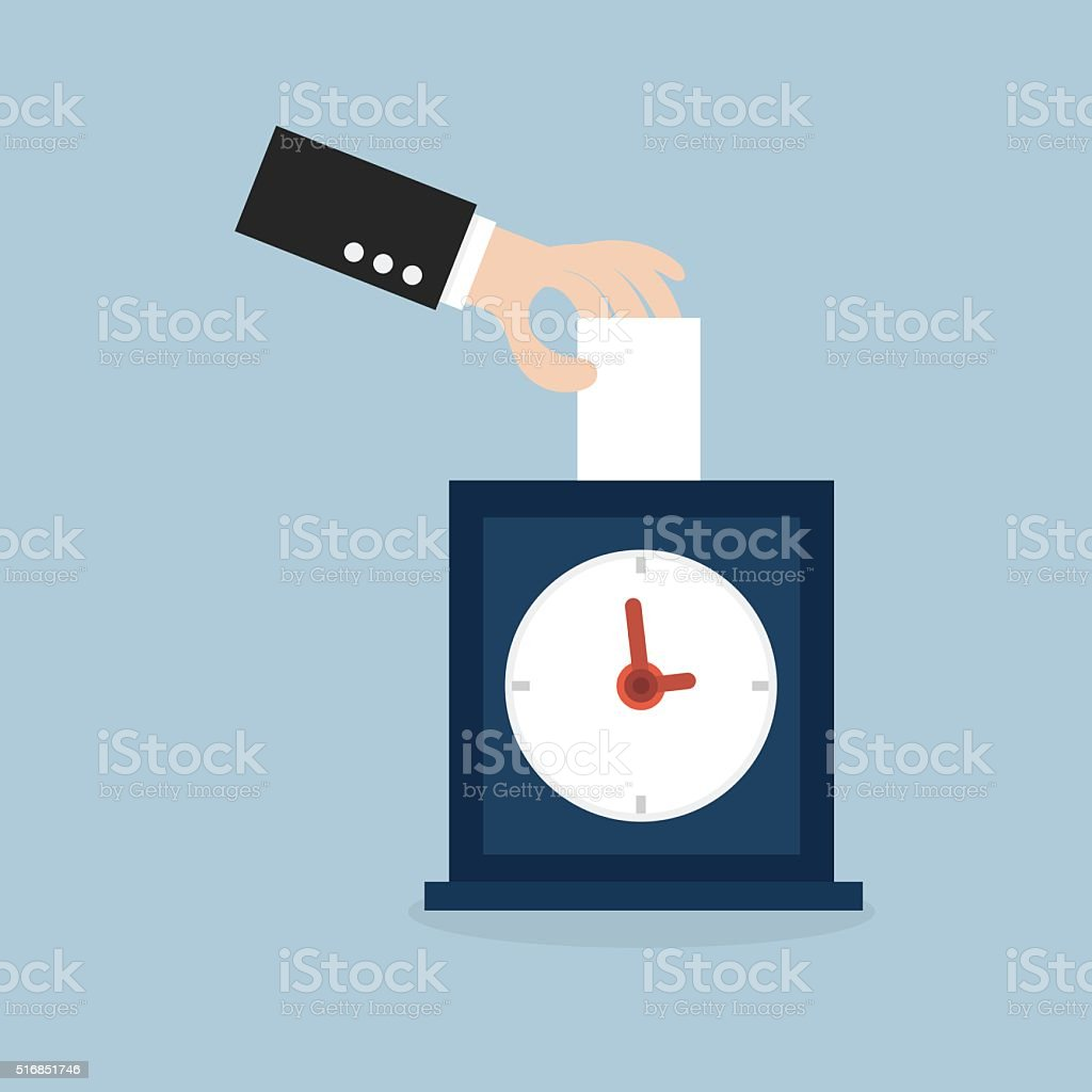 Hand putting card in time clock royalty-free hand putting card in time clock stock vector art & more images of business finance and industry