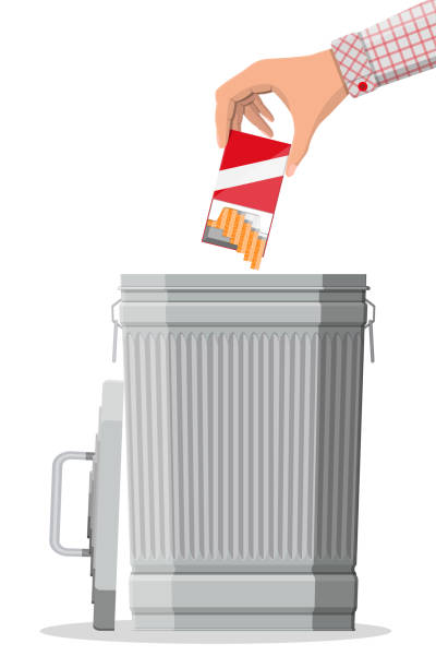 Hand putting Zigaretten-Paket in Mülleimer – Vektorgrafik