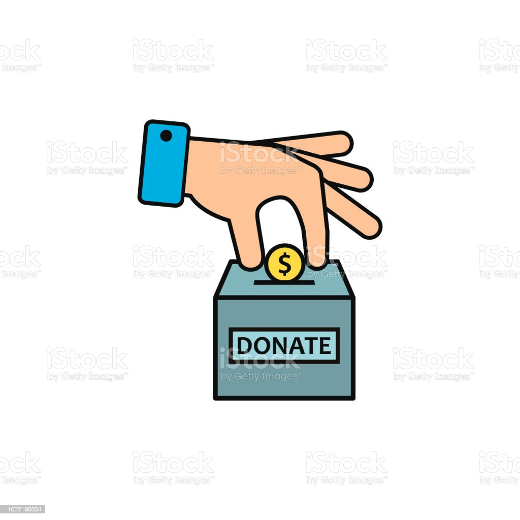 hand putting coin in donate box color icon vector stock vector art