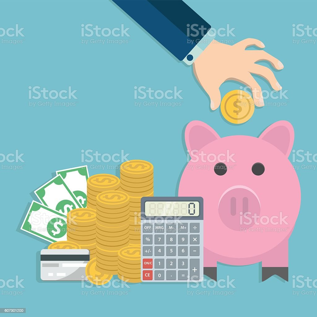 Hand putting coin into a piggy bank. Saving and investing vector art illustration