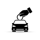 Hand putting coin into the car, save money for car, invest money in car, business concept, flat design.