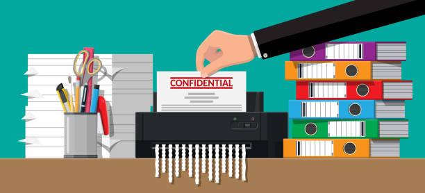Hand ins Dokument Papier Schredder-Maschine. – Vektorgrafik