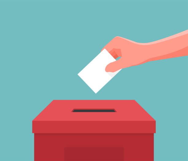 hand putting paper ballot in the box. vector illustration - vote stock illustrations