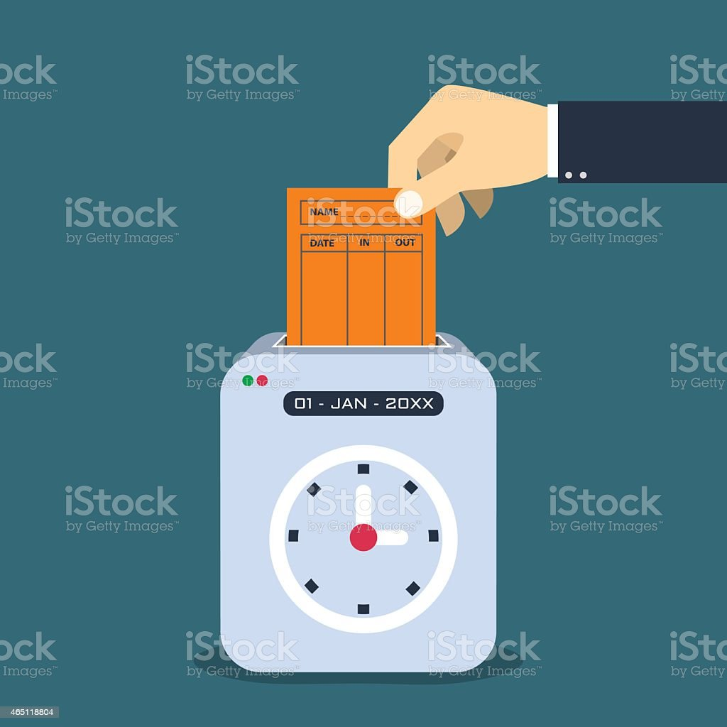 Hand putting  paper card in time recorder machine vector art illustration