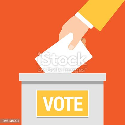 Vote. Hand putting paper in ballot box. Vector illustration. Flat style.