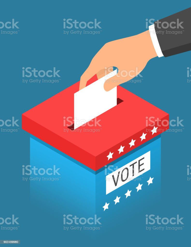 Hand putting paper in the blue ballot box with the red top. Voting concept in isometric style vector art illustration