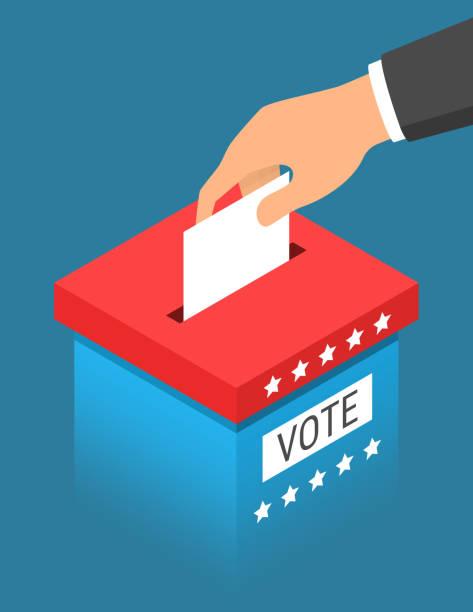 stockillustraties, clipart, cartoons en iconen met hand die papier aanbrengend de blauwe stembus met de rode top. stemmen concept in isometrische stijl - vote