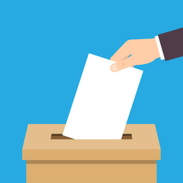 Hand putting voting paper in ballot box Vote. Hand putting voting paper in ballot box. Voting concept. Vector illustration voting stock illustrations
