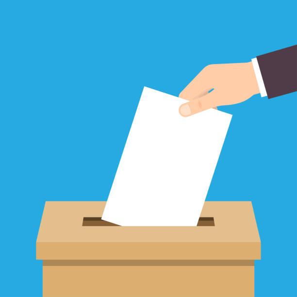 stockillustraties, clipart, cartoons en iconen met hand stemming papier aanbrengend stembus - vote