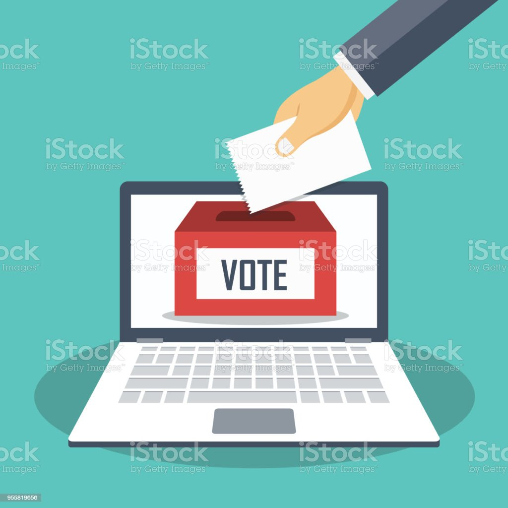 Hand putting voting paper in the ballot box on a laptop screen. Voting online concept. Flat vector illustration. vector art illustration