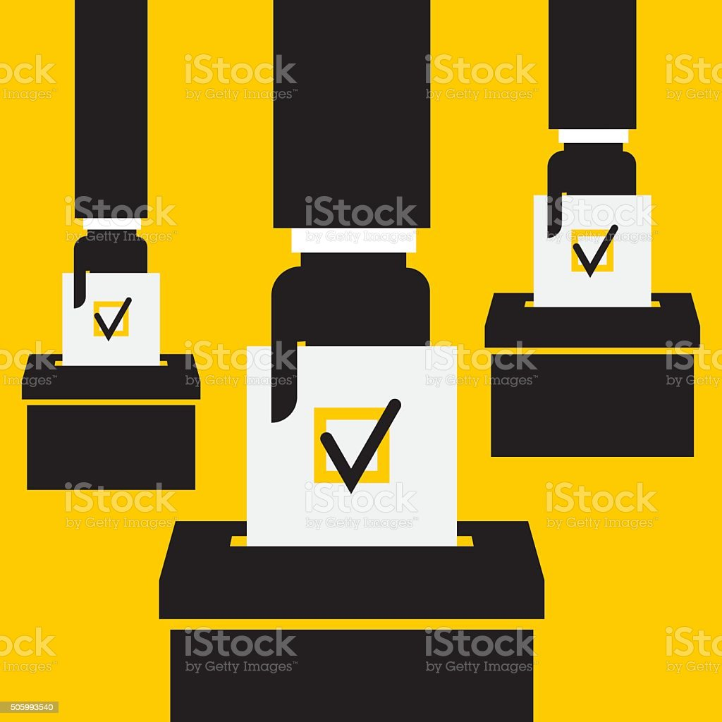 hand putting voting paper in the ballot box vector art illustration