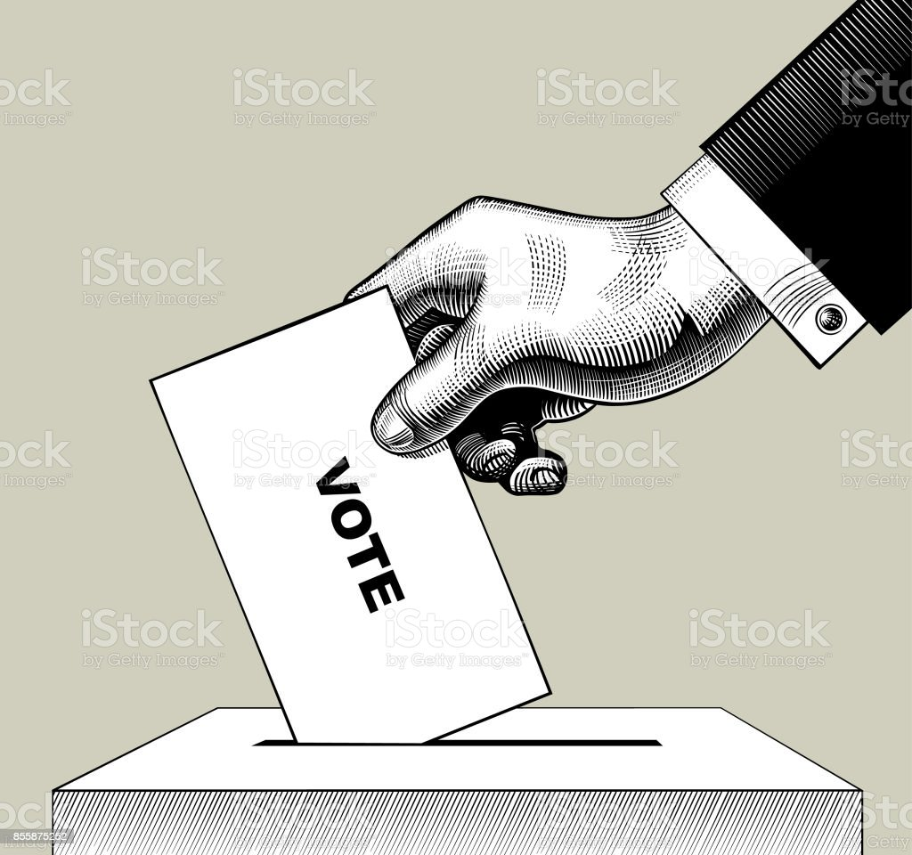 Hand putting voting paper in the ballot box. Vintage engraving stylized drawing vector art illustration