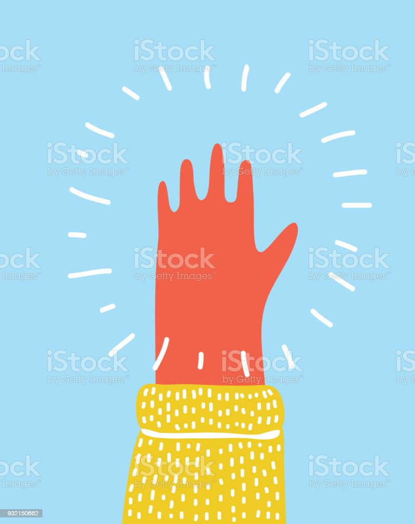 Hand raised palm toward the viewer, stretched out five fingers. vector art illustration