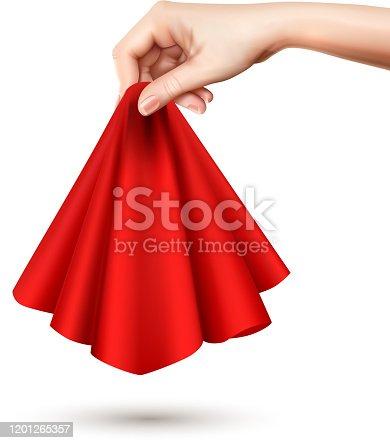 istock hand raises silk cloth realistic 1201265357