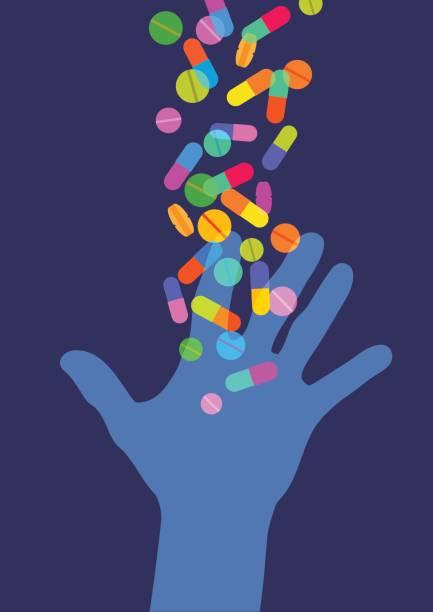 hand greift für pillen - kräutermischung stock-grafiken, -clipart, -cartoons und -symbole