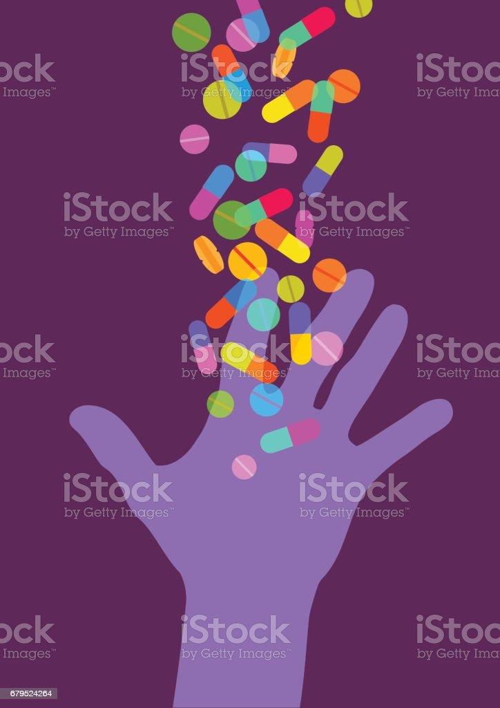Hand Reaching for Pills vector art illustration