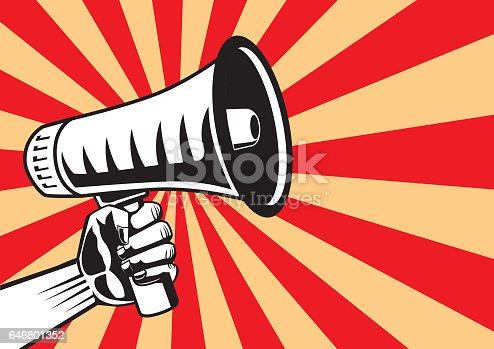 Hand reaching out a megaphone on shine background. Illustration in pop art and retro style.