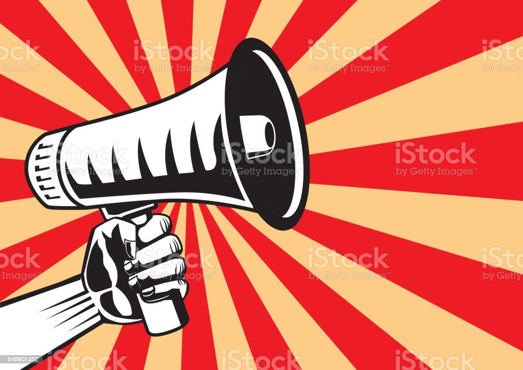 Hand reaching out a megaphone on shine background. vector art illustration