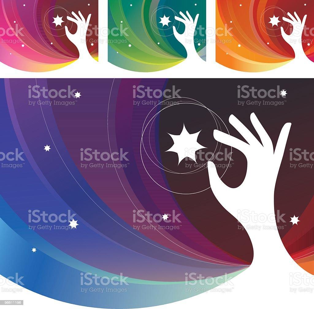 Руки, тянущейся небо звезды - Векторная графика Белый фон роялти-фри