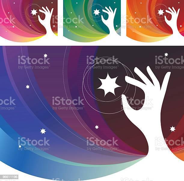 Руки Тянущейся Небо Звезды — стоковая векторная графика и другие изображения на тему Белый фон