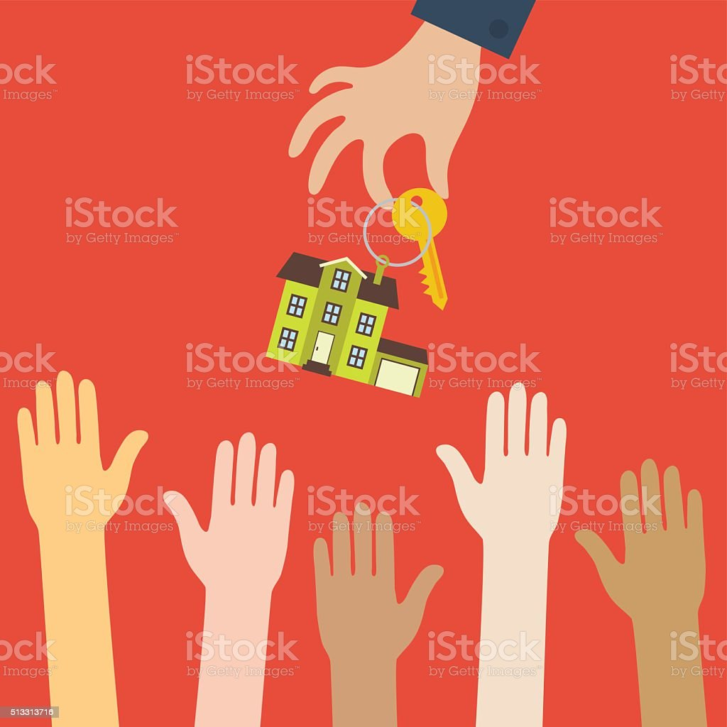 Hand real estate agent holds a key with house vector art illustration