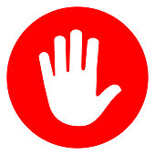 hand red circle icon