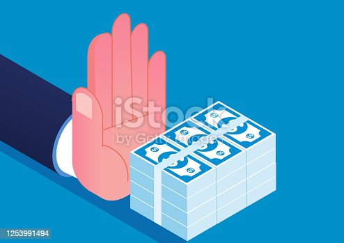 istock Hand refused the bribe offered 1253991494