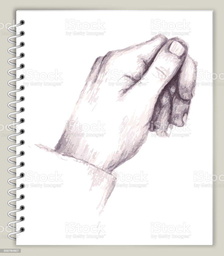 Ilustración de De La Mano Con El Dibujo Informal En Art Sketcbook ...