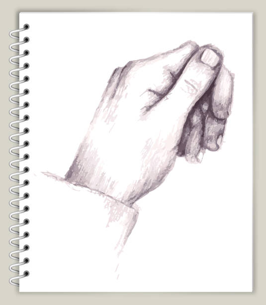 Hand Relaxed Drawing on Art Sketcbook royalty free vector art Hand Relaxed Drawing on Art Sketchbook royalty free vector art. This illustration features a pencil sketch on white paper background. The spiral sketchbook is on beige background. The line art is detailed and realistic. Icon download includes vector art and jpg file. biofeedback stock illustrations