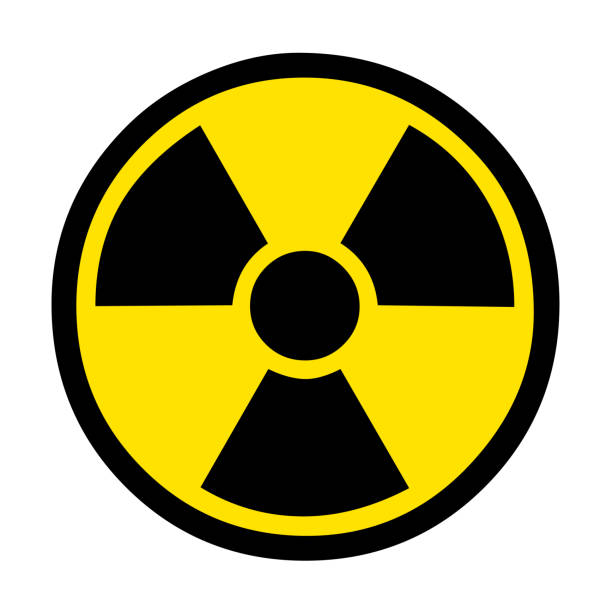 illustrazioni stock, clip art, cartoni animati e icone di tendenza di hand restraints for nuclear symbol flat vector icon. - reattore nucleare