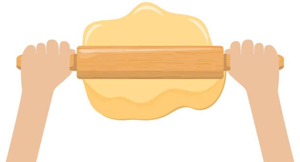 ilustraciones, imágenes clip art, dibujos animados e iconos de stock de balanceo de masa con un rodillo de mano - comida casera