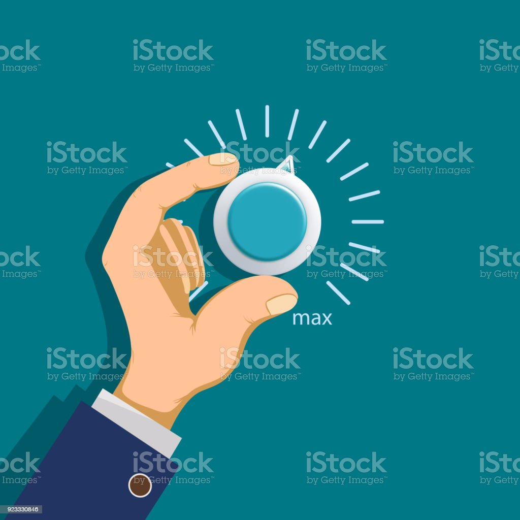 hand rotates the thermostat vector art illustration