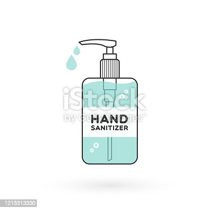 istock Hand sanitizer bottle isolated with pump. Washing alcohol gel used against viruses, bacteria, flu, coronavirus. Waterless hand cleaner. Handwashing. Black outline. Vector illustration, flat design 1213313330
