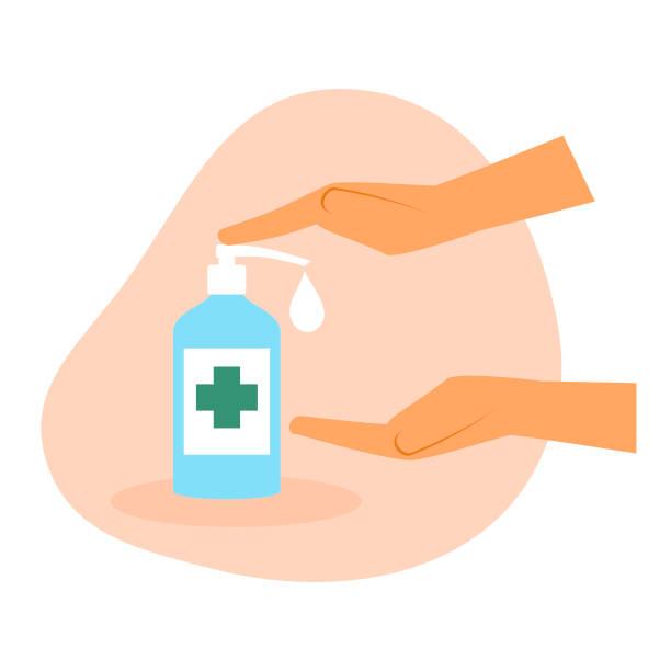 Hand sanitizer Covid-19 protection plan vector art illustration