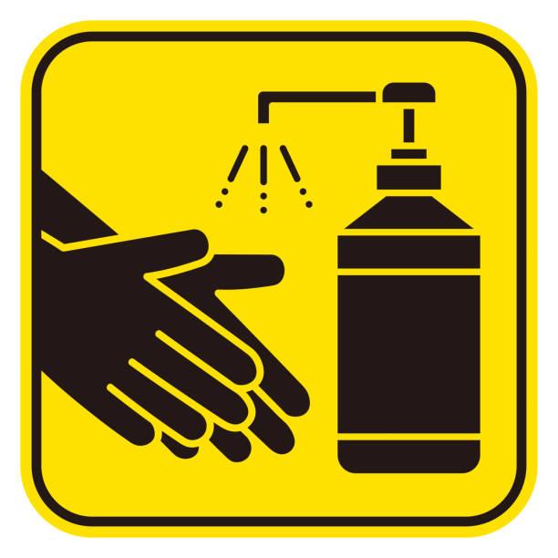 ilustraciones, imágenes clip art, dibujos animados e iconos de stock de desinfectante de manos icono vectorial de higiene - hand sanitizer