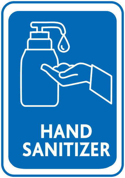 Hand sanitizer line art sign vector art illustration