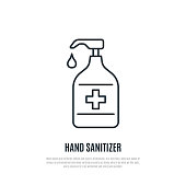 istock Hand sanitizer line icon isolated on white background. Antibacterial hand gel sign. Prevention of coronavirus. Stock vector illustration for web, mobile apps and print products. 1214299536