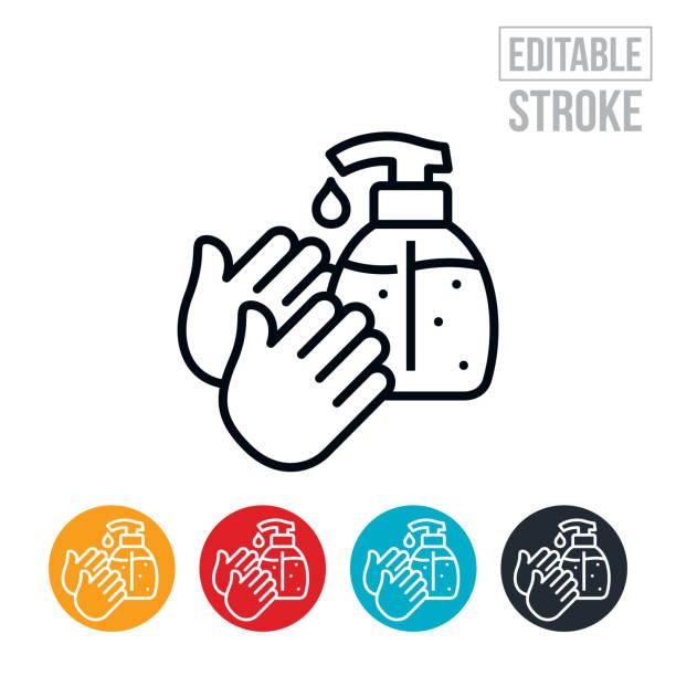 Hand Sanitizer Dünne Linie Icon - editierbare Strich – Vektorgrafik