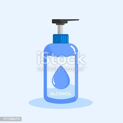 Vector of hand sanitizer pump bottle or medicine disinfection, alcohol gel for cleaning washing hands on isolated light blue background illustration.