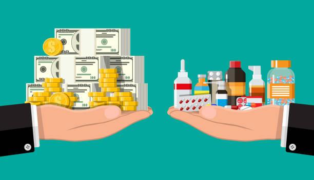 Handwaagen mit Geld und Drogen – Vektorgrafik