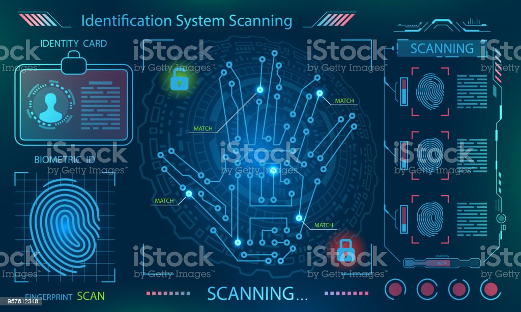Hand Scan, Handprint (Imprint), Finger Print in Technological Theme, Futuristic Style vector art illustration