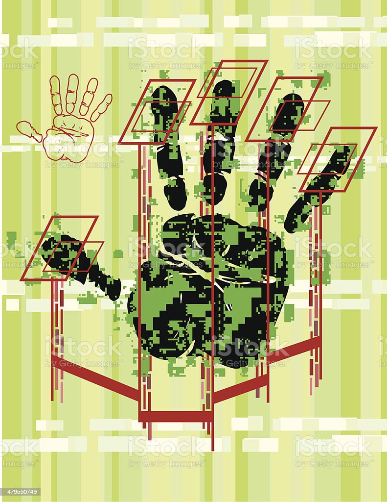 Hand Scan royalty-free hand scan stock vector art & more images of art