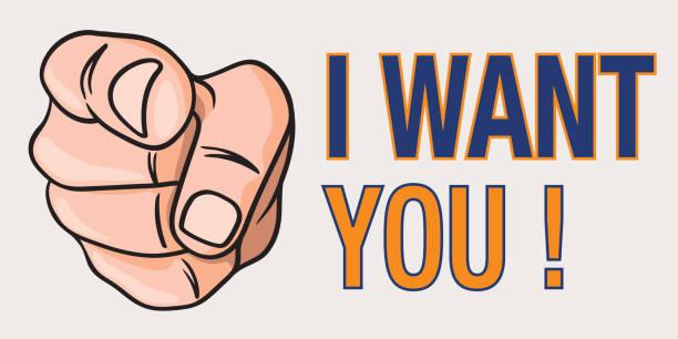 A hand seen from the front pointing, in the manner of Uncle Sam, to illustrate the sentence: I Want You. Concept du choix du leader, avec le dessin d'une main vue de face, qui désigne du doigt, quelqu'un pour illustrer la phrase : I want you. uncle sam stock illustrations