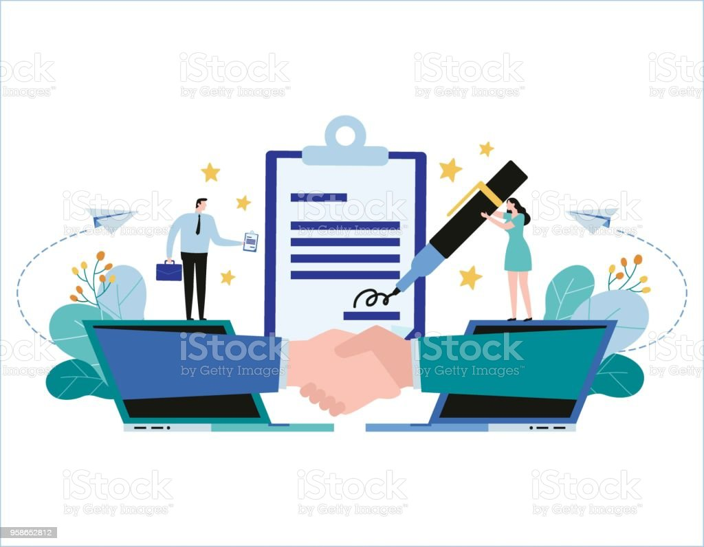 Hand shake and contract business Vector illustration banner. Partnership concept, businessman woman flat cartoon design for web mobile vector art illustration