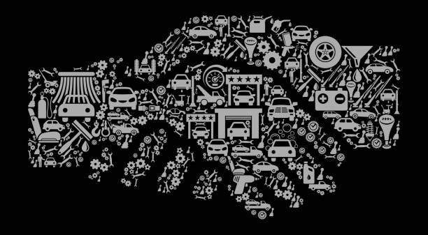 bildbanksillustrationer, clip art samt tecknat material och ikoner med hand skaka auto reparera bilar och automotive vector ikon bakgrund - wheel black background